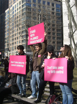 Supporters Rally for Planned Parenthood and Reproductive Healthcare in Manhattan