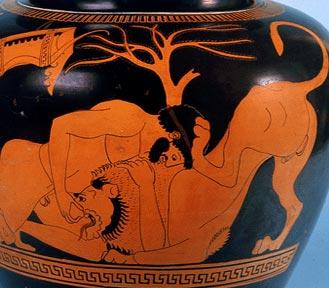 Heracles fighting against nemaeus lion