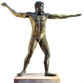 Poseidon throwing a spear