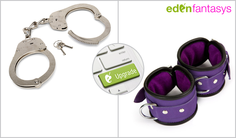 Purple hand cuffs
