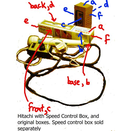 Hitachi and speed controller boxes labeled