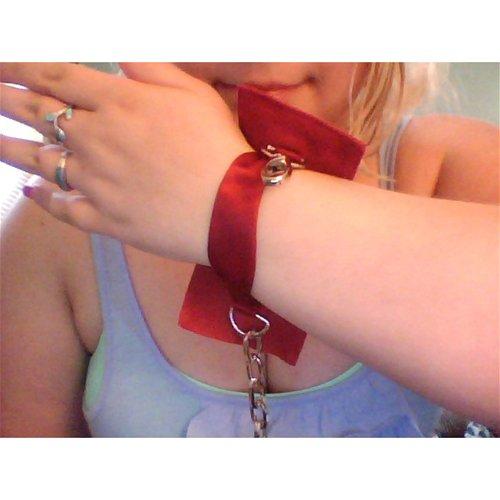 Adore me cuffs on