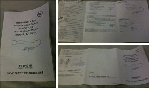 Hitachi Magic Wand Instruction Booklet