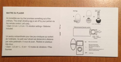 Plaisirs Egg Instructions