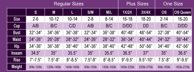 Magic Silk's Sizing Chart