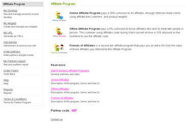 Affiliate Programs User Account
