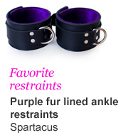 Favorite restraints - Purple fur line wrist restraints