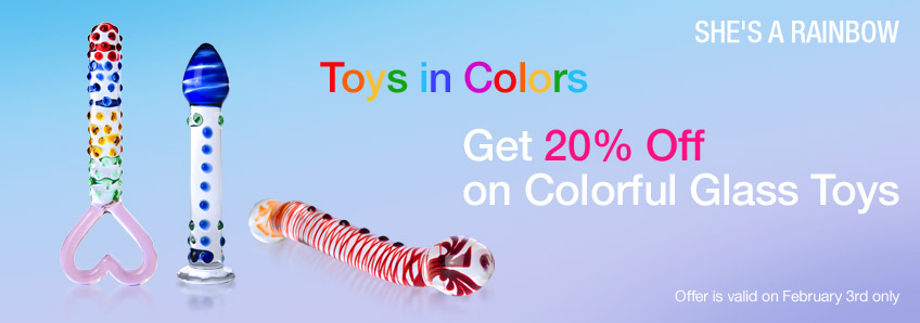 Toys on Colors. Get 20% Off on Colorful Glass Toys