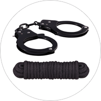 Sinful metal cuffs and rope